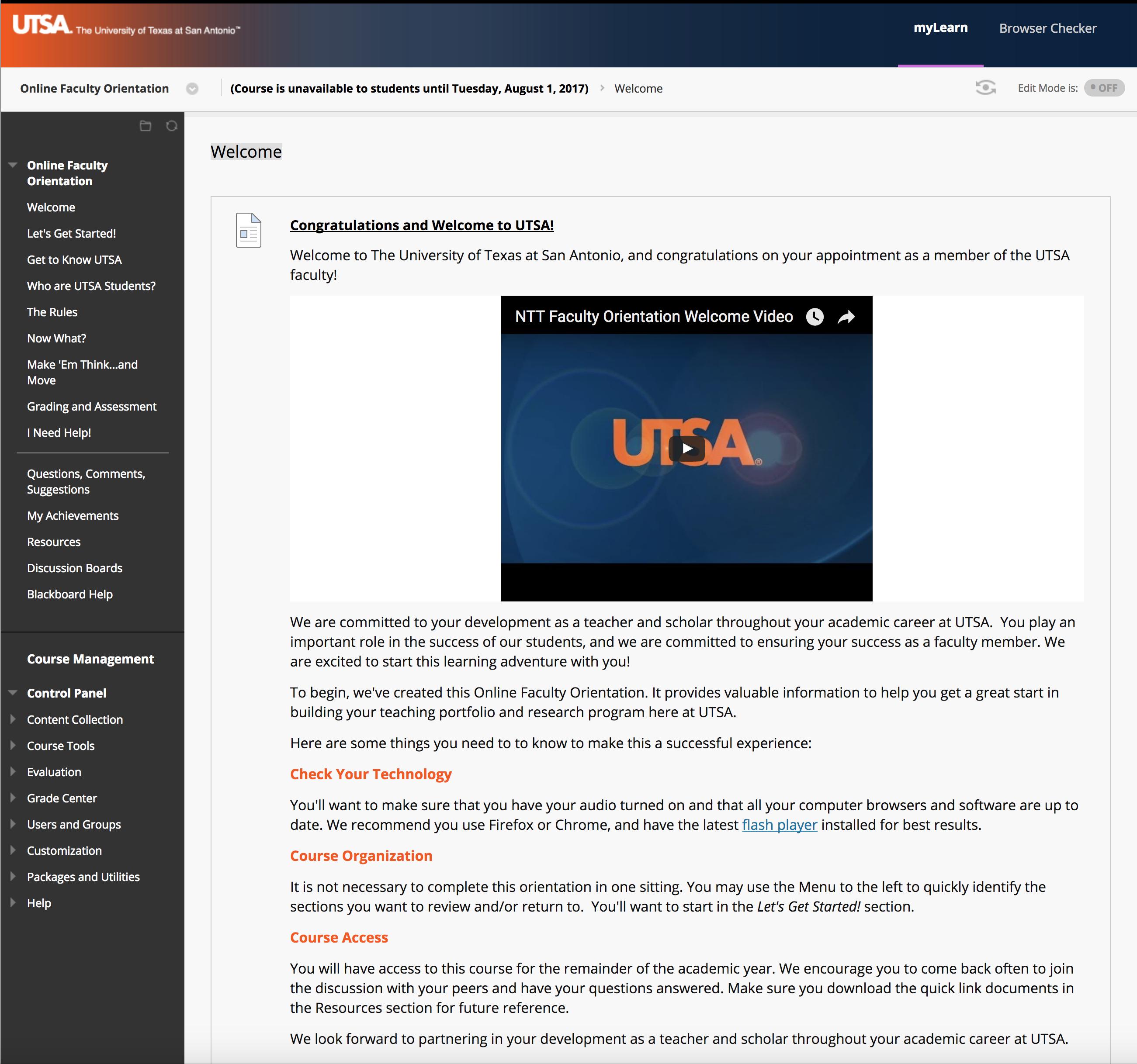 UTSA Teaching & Learning Working Online Module